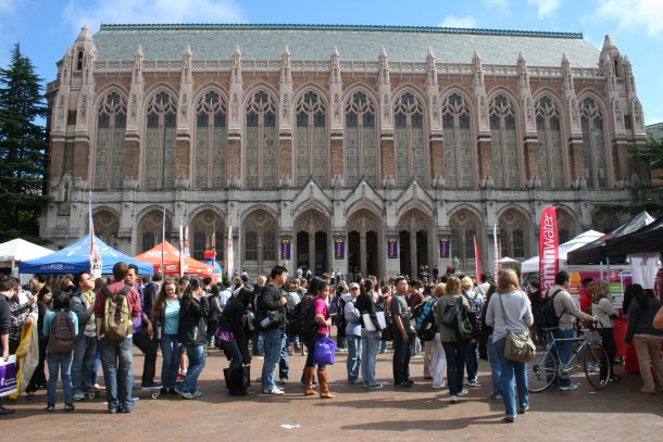 Students in line on red square