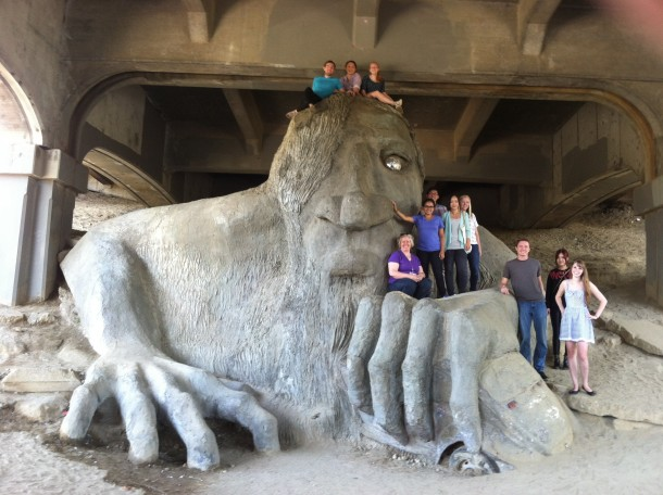Students on the fremont troll statue