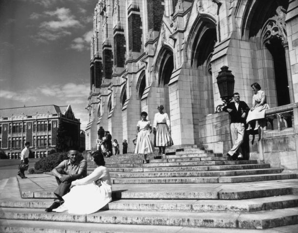 Students on the steps of the Suzzallo Library, July 14, 1953